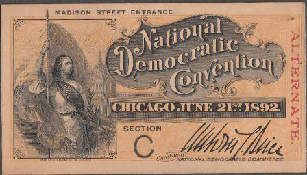 1892 National Democratic Convention Ticket Price Guide