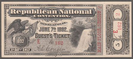 1892 National Republican Convention Ticket Prices