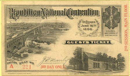 1896 National Republican Convention Ticket Prices