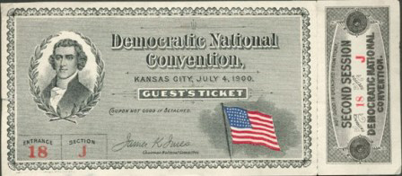 1900 National Democratic Convention Ticket Price Guide