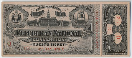 1900 National Republican Convention Ticket Prices