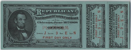 1908 National Republican Convention Ticket Prices