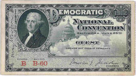 1912 National Democratic Convention Ticket Price Guide