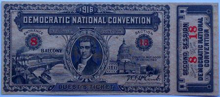 1916 National Democratic Convention Ticket Price Guide