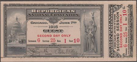 1916 National Republican Convention Ticket Prices