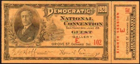1920 National Democratic Convention Ticket Price Guide