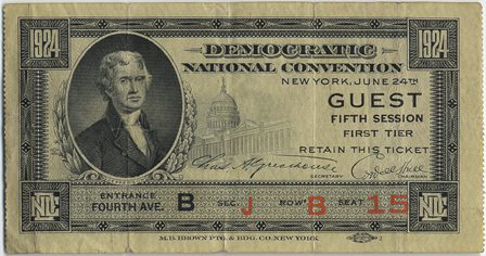 1924 National Democratic Convention Ticket Price Guide