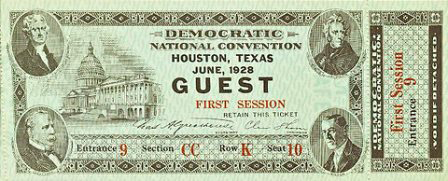 1928 National Democratic Convention Ticket Price Guide