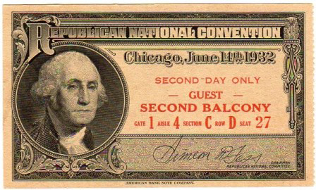 1932 National Republican Convention Ticket Prices