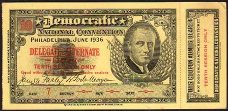 1936 National Democratic Convention Ticket Price Guide