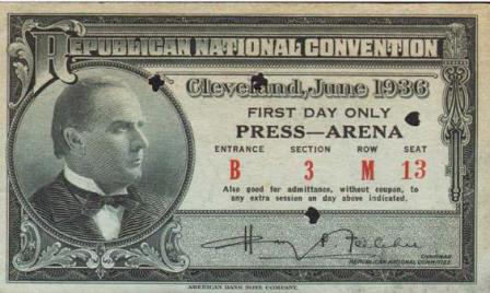 1936 National Republican Convention Ticket Prices