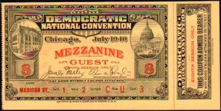 1940 National Democratic Convention Ticket Price Guide