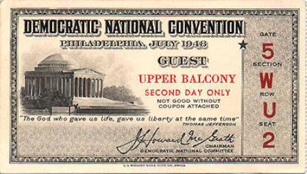 1948 National Democratic Convention Ticket Price Guide