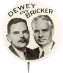 Election of 1944 Thomas Dewey Jugate Buttons
