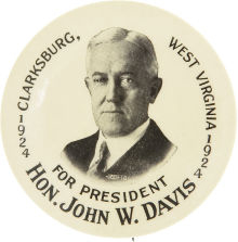 Election of 1924 John W. Davis Portrait Buttons
