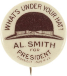 Election of 1928 Alfred Smith Derby Hat Buttons