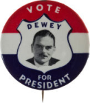 Election of 1944 Thomas Dewey Portrait Buttons