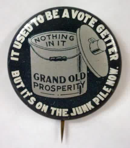 Election of 1932 Franklin D. Roosevelt Dinner Pail Buttons