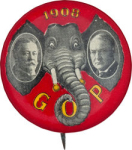 Election of 1908 William Howard Taft Elephant Ears Jugate Buttons