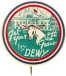Election of 1948 Thomas Dewey Get Your *** Off the Grass/Other *** Puns Buttons
