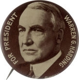 Election of 1920 Warren G. Harding Portrait Buttons