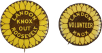 Election of 1936 Alfred Landon Landon Knox Out Roosevelt Buttons