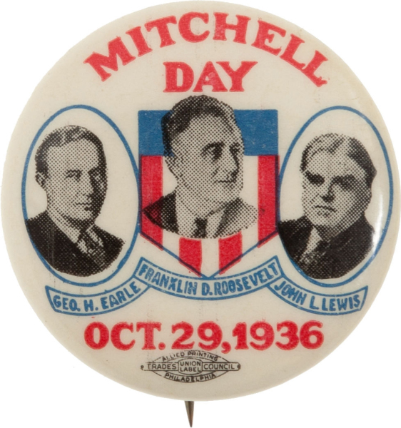 Election of 1936 Franklin D. Roosevelt Mitchell Day Buttons