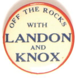 Election of 1936 Alfred Landon Off the Rocks Buttons