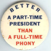 Election of 1956 Dwight Eisenhower Part Time President Buttons