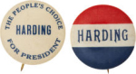 Election of 1920 Warren G. Harding The People's Choice Buttons