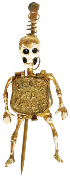 Election of 1896 William Jennings Bryan Skeleton Buttons