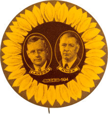 Election of 1936 Alfred Landon Sunflower Buttons