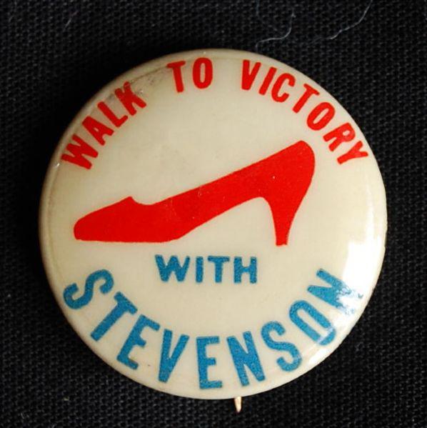 Election of 1956 Adlai Stevenson Walk to Victory With Stevenson Buttons